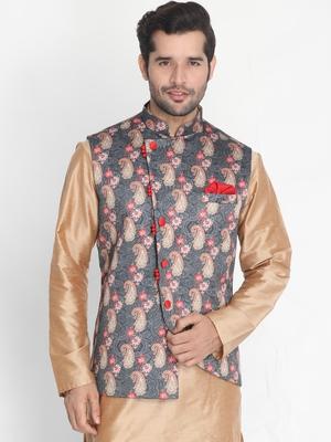 Grey plain silk blend nehru-jacket