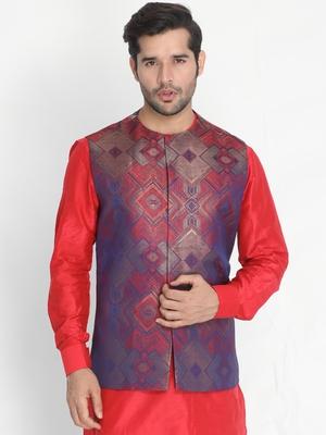 Red woven silk blend nehru-jacket