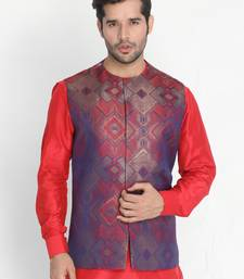 Red Woven Silk Blend Nehru Jacket