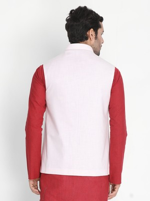 Pink woven cotton nehru-jacket