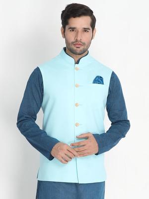Blue Woven Cotton Nehru-Jacket