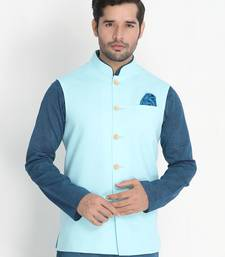 Blue Woven Cotton Nehru-Jacket