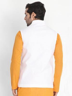 White woven cotton nehru-jacket