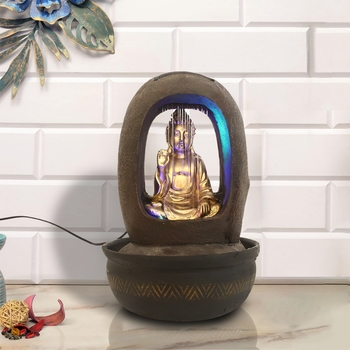 Brown Blessing Buddha Polyresin Water Fountain With Led Lights (16.5 X 10.5 Inch)