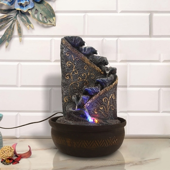 Blue Designer 8 Step Polyresin Water Fountain With Led Lights (16.5 X 10.5 Inch)