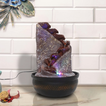 Maroon Designer 8 Step Polyresin Water Fountain With Led Lights (16.5 X 10.5 Inch)