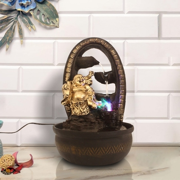 Brown Laughing Buddha 4 Step Polyresin Water Fountain With Led Lights (16.5 X 10.5 Inch)