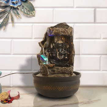 Copper Black Lord Ganesha 4 Step Polyresin Water Fountain With Led Lights (16.5 X 10.5 Inch)