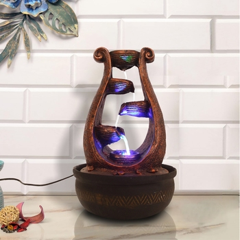 Copper Brown Designer 5 Step Polyresin Water Fountain With Led Lights (16.5 X 10.5 Inch)