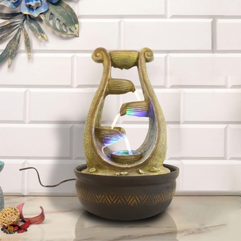 Green Designer 5 Step Polyresin Water Fountain With Led Lights (16.5 X 10.5 Inch)