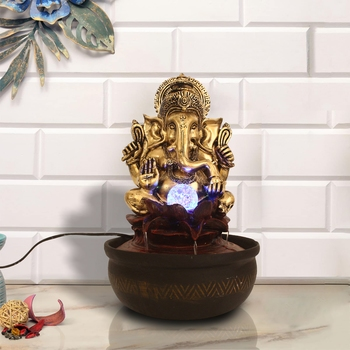 Maroon Ganesha Lotus Design Polyresin Water Fountain With Led Lights, Crystal Ball (16.5 X 10.5 Inch)