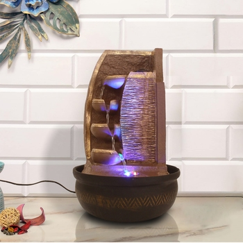 Brown Designer 4 Step Golden Finish Polyresin Water Fountain With Led Lights 16.5 X 10.5 Inch