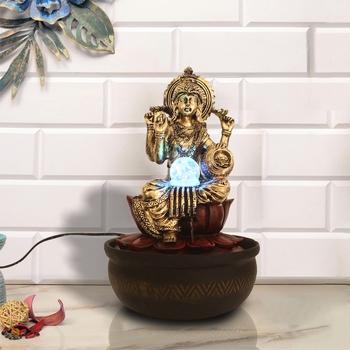 Maroon Laxmi Ji Lotus Design Polyresin Water Fountain With Led Lights, Crystal Ball (16.5 X 10.5 Inch)
