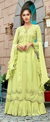 Green Faux Georgette Partywear Salwar Kameez