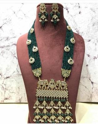 Wedding Royal Kundan Semi Precious Green Onyx Necklace Sets