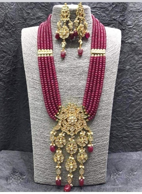 Wedding Ruby royal semi precious hi kundan long necklace-sets