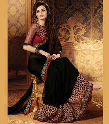 Buy Black and Maroon Coloured Embroidered Chiffon Party Wear Saree With Blouse party-wear-saree online