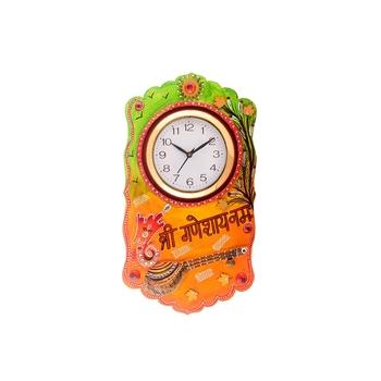 Shree Ganesha Namah Splendid Wooden Handcrafted Wooden Wall Clock (H - 19 Inch)