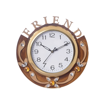Friends Carved Papier-Mache Wooden Handcrafted Wall Clock