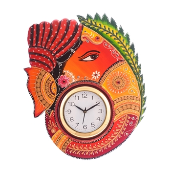 Turban Lord Ganesha Coloful Wooden Handcrafted Wooden Wall Clock (H - 18Inch)