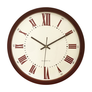 Brown Plastic Round Analog Wall Clock (14*14 Inches)