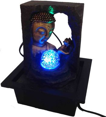 Lord Buddha With Crystal Ball Water Fountain