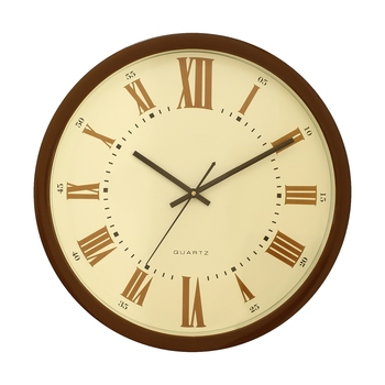 Golden Brown Plastic Round Analog Wall Clock (14*14 Inches)