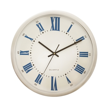 Silver Plastic Round Analog Wall Clock (14*14 Inches)
