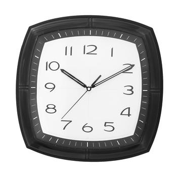 Black Plastic Square Analog Wall Clock (14*14 Inches)