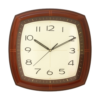 Brown Plastic Square Analog Wall Clock (14*14 Inches)