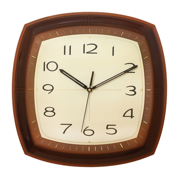 Golden Brown Plastic Square Analog Wall Clock (14*14 Inches)