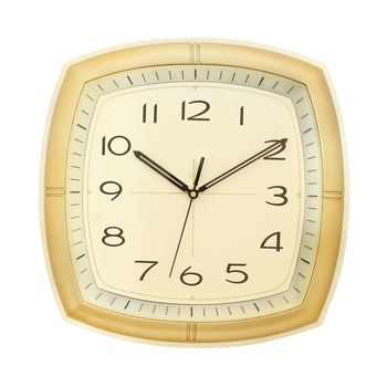 Ivory Plastic Square Analog Wall Clock (14*14 Inches)