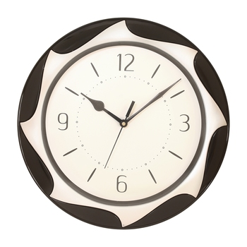 Black Plastic Round Analog Wall Clock (12*12 Inches)