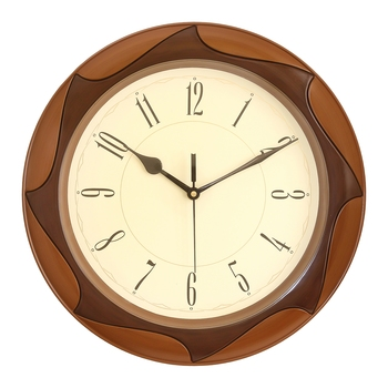 Golden Brown Plastic Round Analog Wall Clock (12*12 Inches)