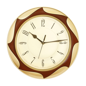 Golden Plastic Round Analog Wall Clock (12*12 Inches)