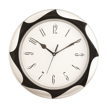 Silver Plastic Round Analog Wall Clock (12*12 Inches)