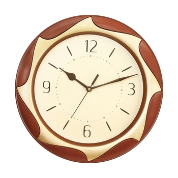 Brown Plastic Round Analog Wall Clock (12*12 Inches)
