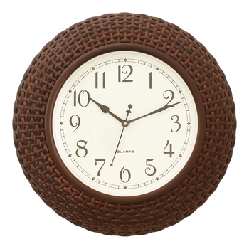 Brown Plastic Round Analog Wall Clock (16*16 Inches)