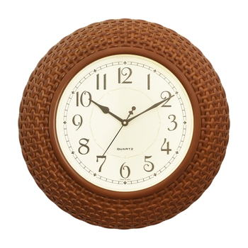 Golden Brown Plastic Round Analog Wall Clock (16*16 Inches)