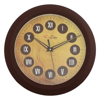 Designer Round Analog Brown Wall Clock