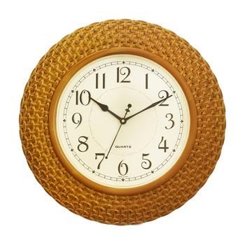 Yellow Plastic Round Analog Wall Clock (16*16 Inches)