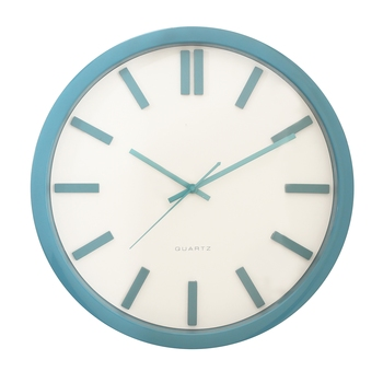 Blue Plastic Round Analog Wall Clock (14*14 Inches)