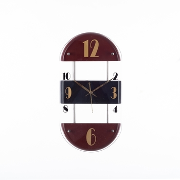 Premium Decorative Analog Brown and Black Oval Wooden Wall Clock