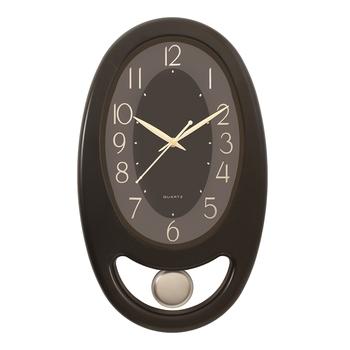 Black Plastic Vertical Pendulum Analog Wall Clock (15.5*9.5 Inches)