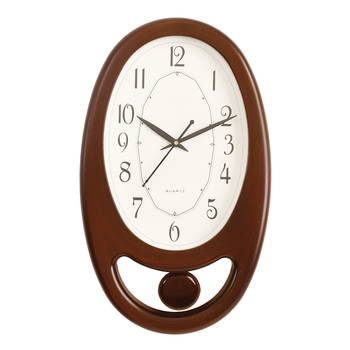 Brown Plastic Vertical Pendulum Analog Wall Clock (15.5*9.5 Inches)