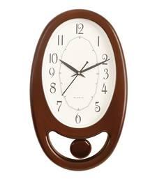 Brown Plastic Vertical Pendulum Analog Wall Clock (15.5*9.5 Inches)