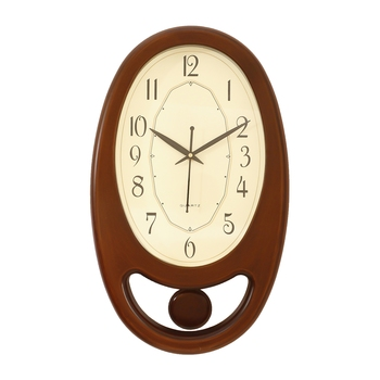 Golden Brown Plastic Vertical Pendulum Analog Wall Clock (15.5*9.5 Inches)