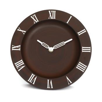 Dark Brown Round Wooden Wall Clock