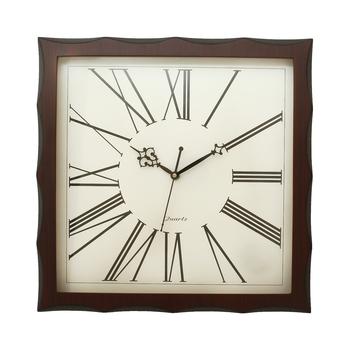 Dark Brown Square Wooden Wall Clock