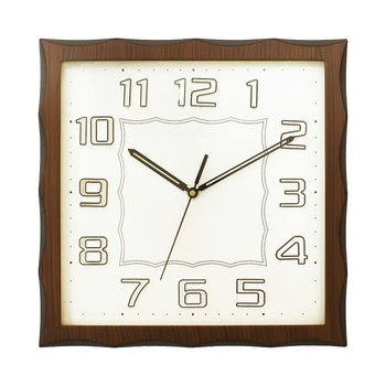 Dark Brown Square Wooden Wall Clock